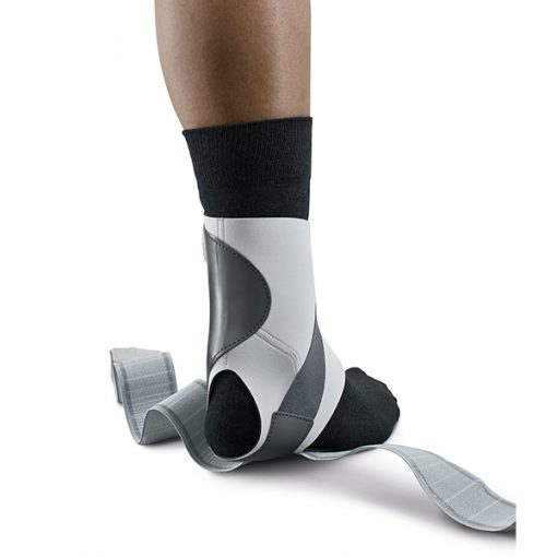 push with ankle brace with sock